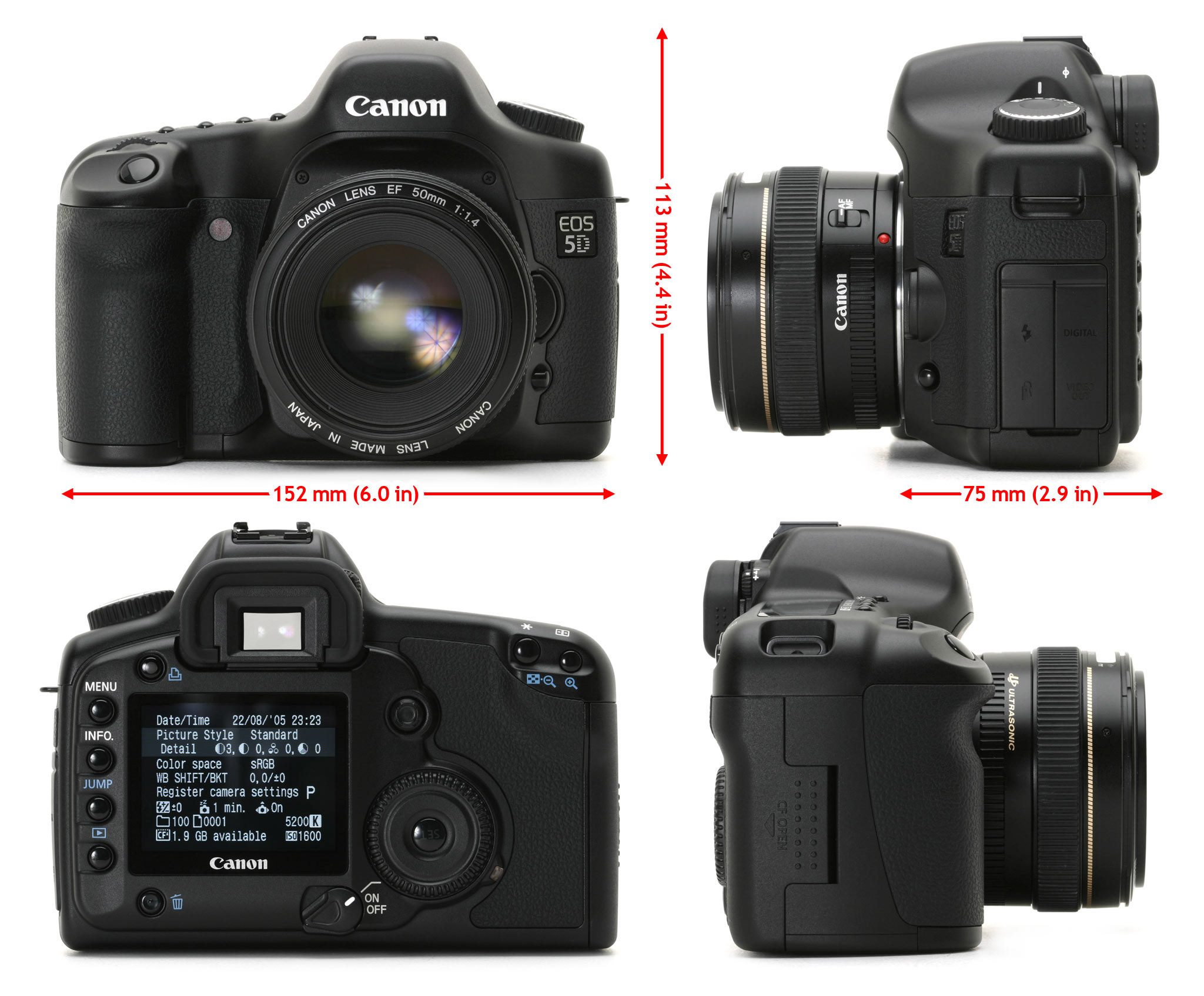 front view canon 5d